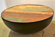 Round Iron & Wood Coffee Table