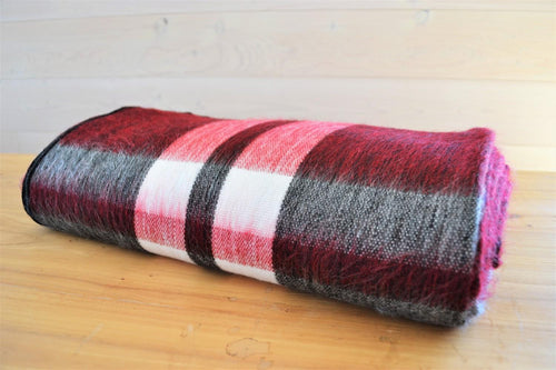 Alpaca Blanket Tartan Cranberry - DemXx Online - luxurious, fair trade, home decor, gifts