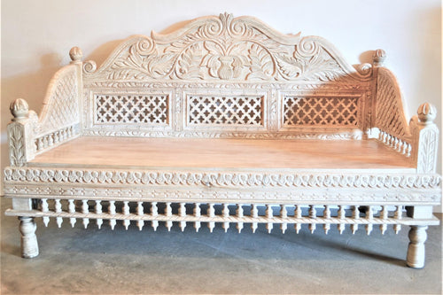 Carved Wooden Bench