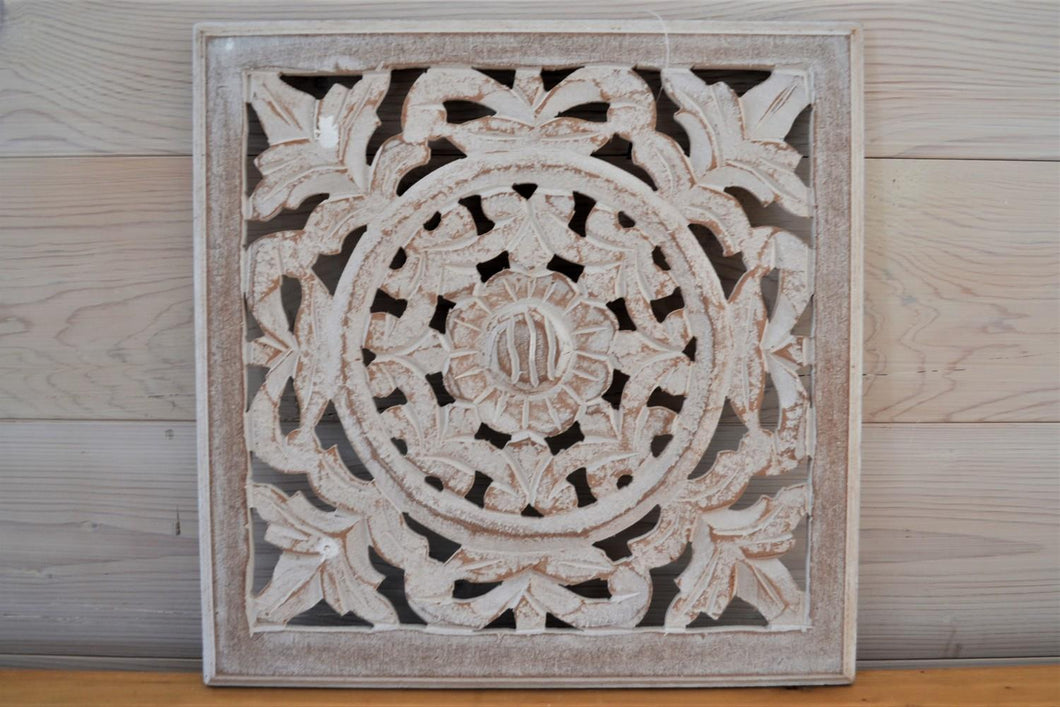 Carved Wood Panel | Antique White