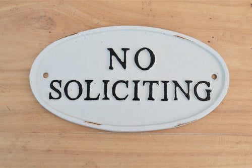 Cast Iron Plaque | No Soliciting White