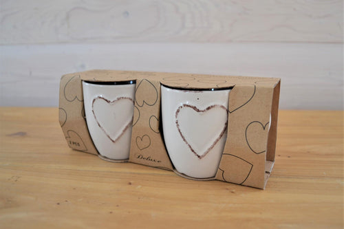 Ceramic Espresso Cups | Embossed Heart