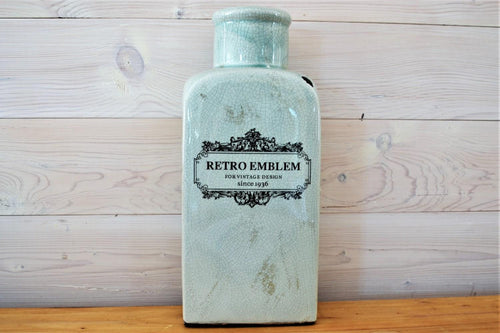 Ceramic Vase | Retro Emblem Green Large
