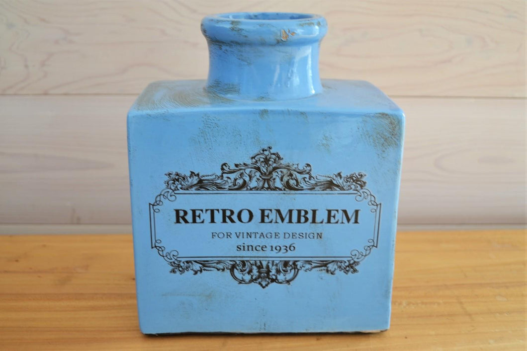 Ceramic Vase | Retro Emblem Blue
