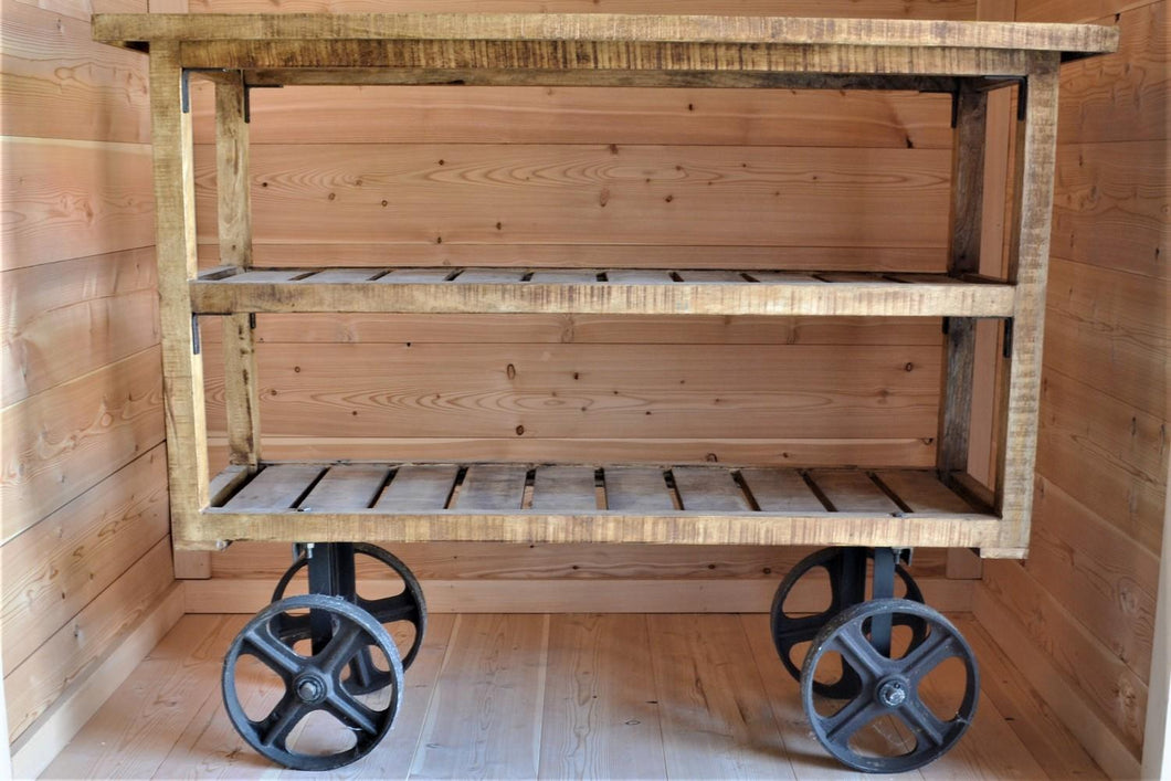 Industiral Mango Wood Rolling Cart