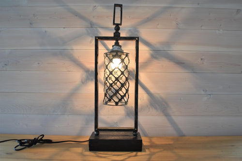 Antique Metal & Wood Table Lamp