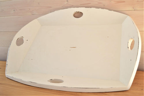 Mahogany Serving Tray | Distressed White