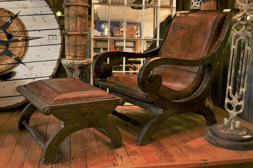 Leather & Mahogany Lazy Chair & Footstool - DemXx Online