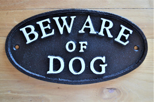 Cast Iron Plaque | Beware Of Dog