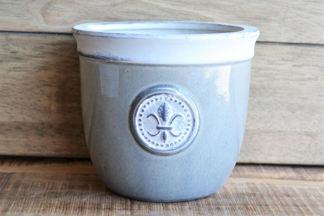 Ceramic Pot | Grey Fleur De Lis Medium