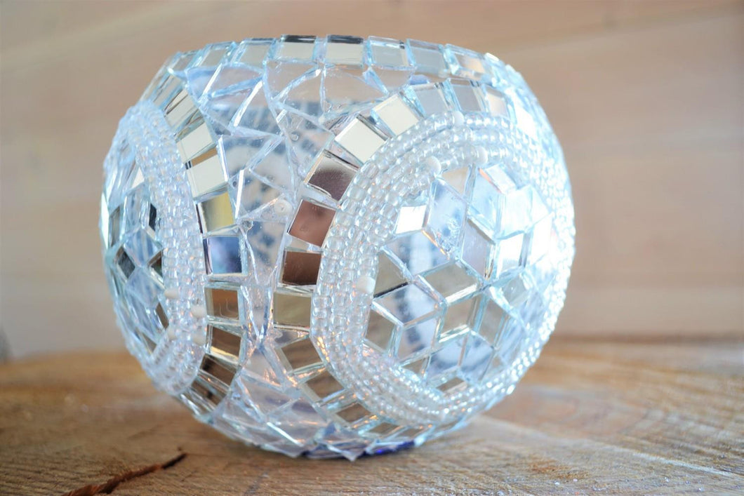 Candleholder | Silver Star Mosaic Large