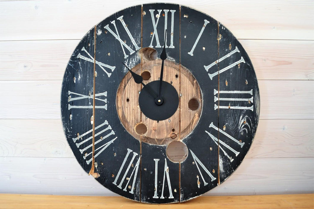 Reclaimed Wooden Clock | Black