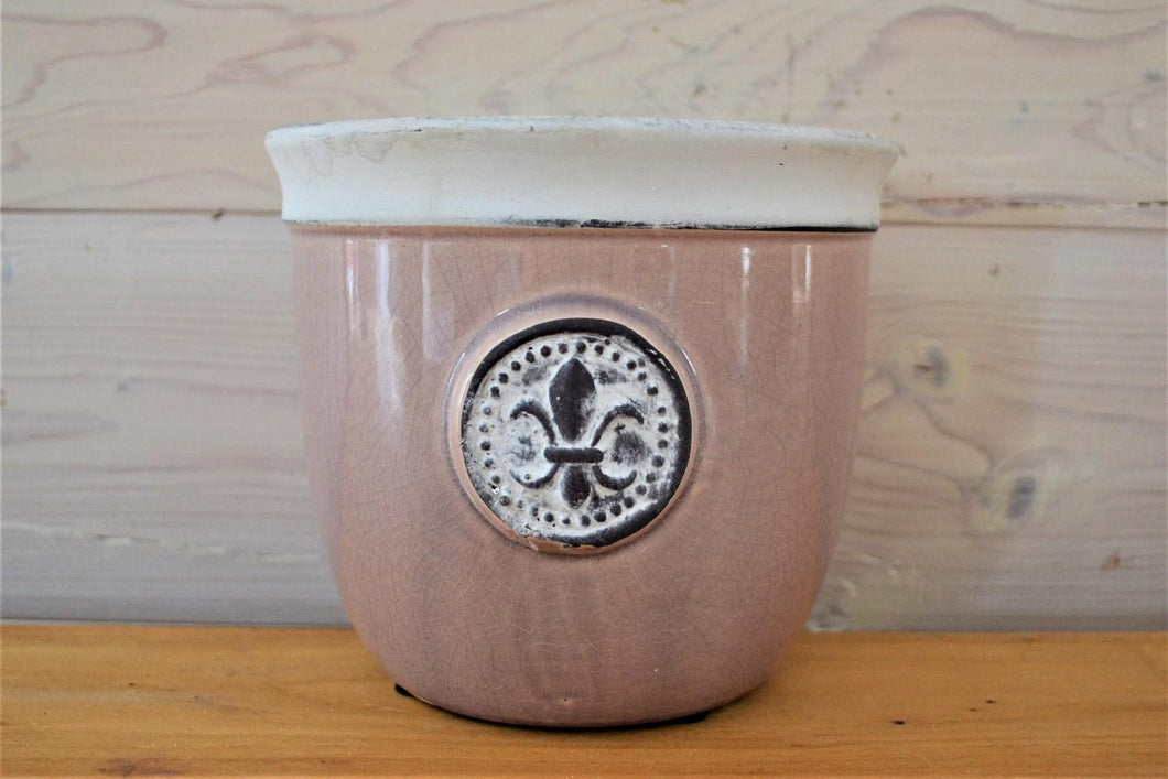 Ceramic Pot | Pink Fleur De Lis Medium