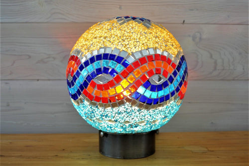 Peony Table Lamp | Blue & Orange