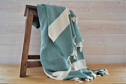 Turkish Blanket Green Classic - DemXx Online - luxurious, fair trade, home decor, gifts