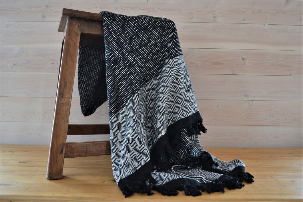 Turkish Blanket Black Diamond - DemXx Online - luxurious, fair trade, home decor, gifts