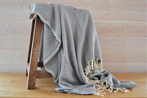 Turkish Blanket | Slate Chevron