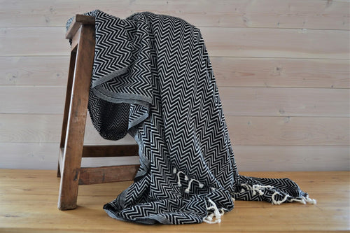 Turkish Blanket Black Chevron - DemXx Online - luxurious, fair trade, home decor, gifts