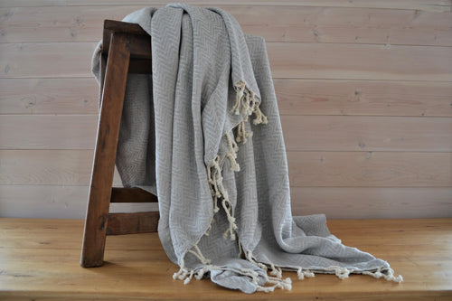 Turkish Blanket Mist Chevron - DemXx Online - luxurious, fair trade, home decor, gifts