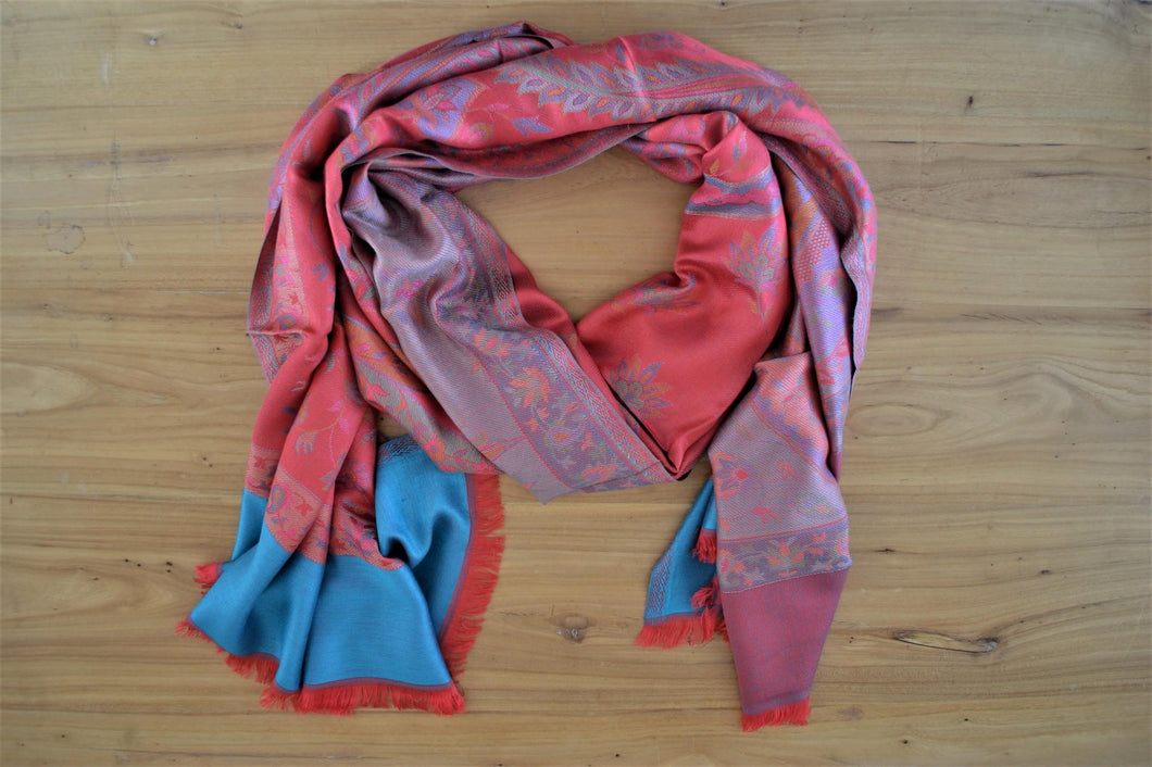 Silk Stole | Coral Paisley