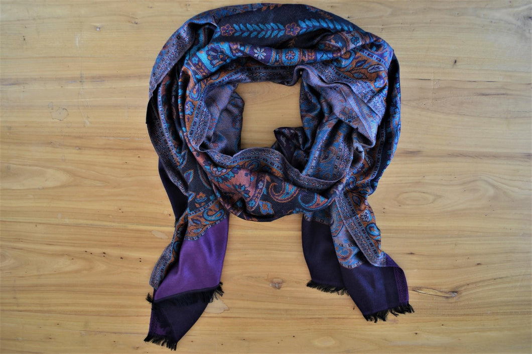 Silk Stole | Purple Paisley
