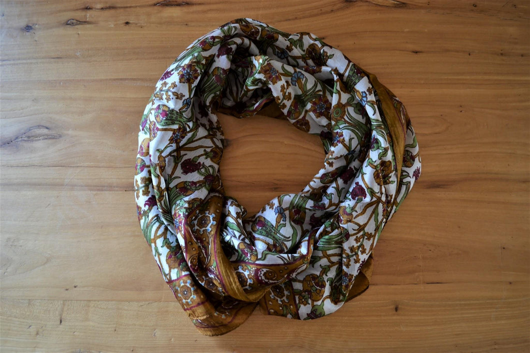 Turkish Silk Scarf | Brown Floral