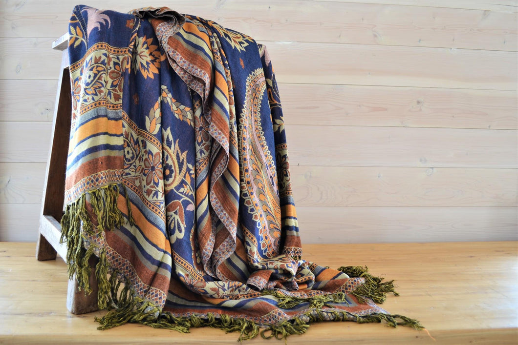 Indian Viscose Throw | Blue Floral