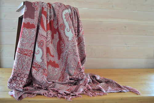 Indian Viscose Throw | Red Paisley