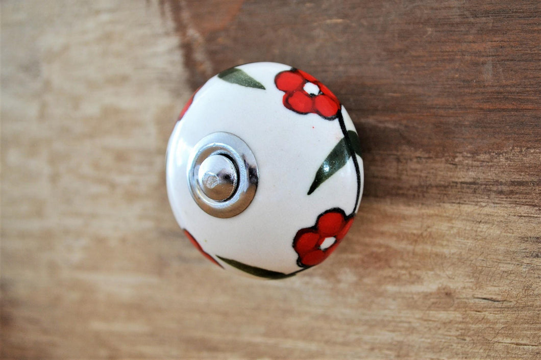 Ceramic Knob | Red Flowers