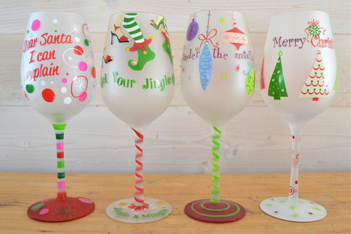 Christmas Wine Glasses | Set of 4