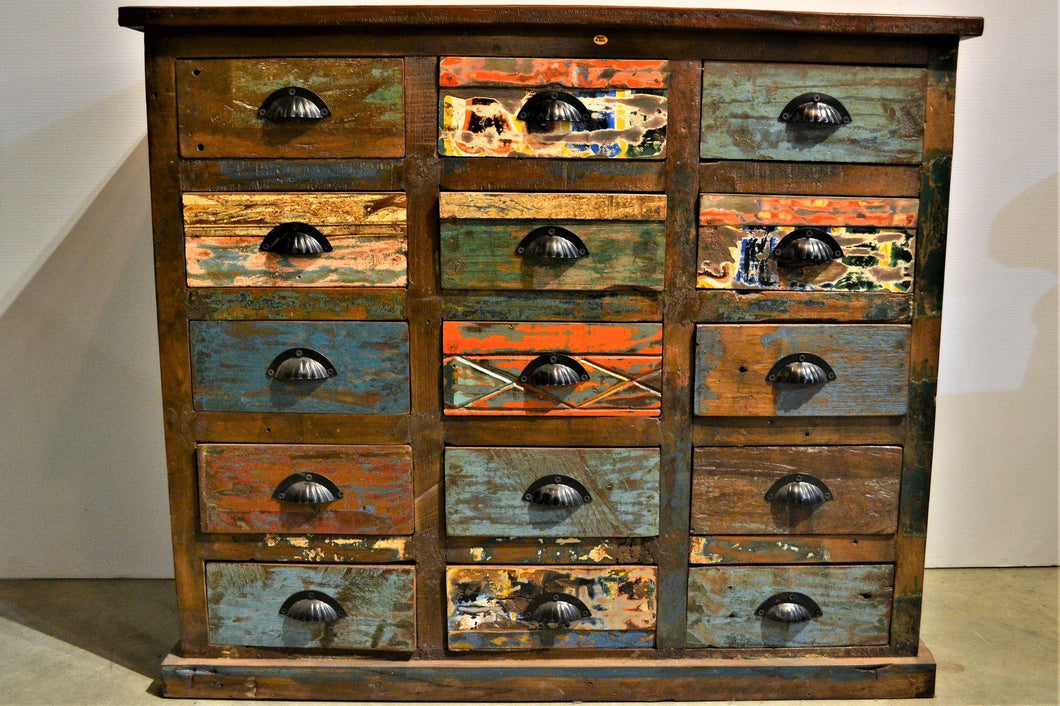 Reclaimed Wood Sideboard - 15 drawer - DemXx Online - Colour Distressed