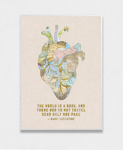 A Travelers Heart + Quote Interchangeable Fabric Art Print Created By Bianca Green
