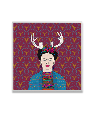 Deer Frida Interchangeable Fabric Art Print Created By Bianca Green