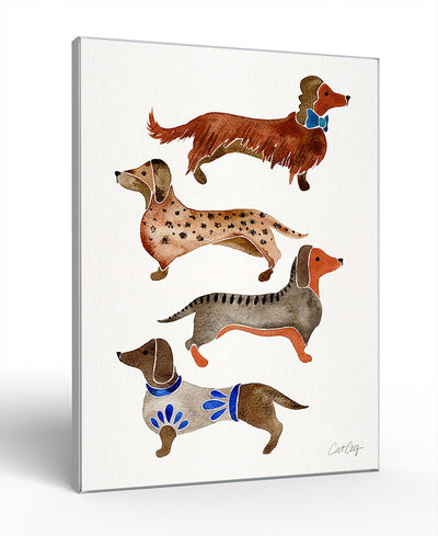 Dachshunds Interchangeable Fabric Art Print Created By Cat Coquillette