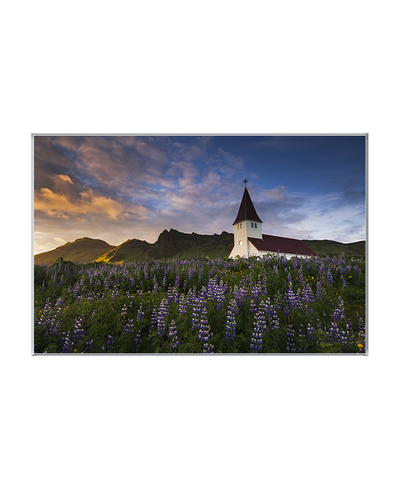 Famed Church at Sunset Interchangeable Fabric Art Print Created By Kurt Budliger