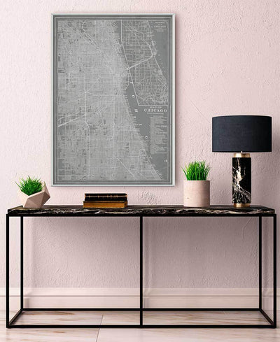 City Map of Chicago Interchangeable Fabric Art Print Created By Vision Studio