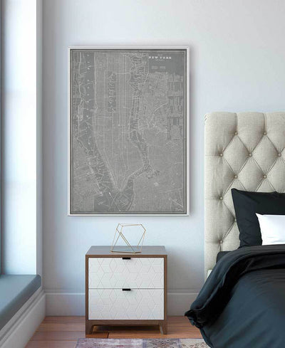 City Map of New York Interchangeable Fabric Art Print Created By Vision Studio