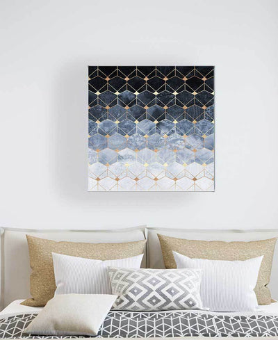 Blue Hexagons And Diamonds Art Print Created By Elisabeth Fredriksson
