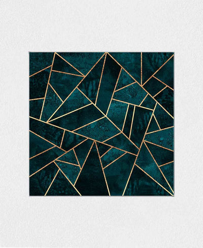 Dark Teal Stone Interchangeable Fabric Art Print Created By Elisabeth Fredriksson