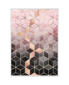 Pink Grey Gradient Cubes Interchangeable Fabric Art Print Created By Elisabeth Fredriksson
