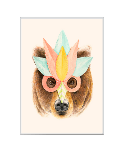 Bear Paper Mask Interchangeable Fabric Art Print Created By Florent Bodart