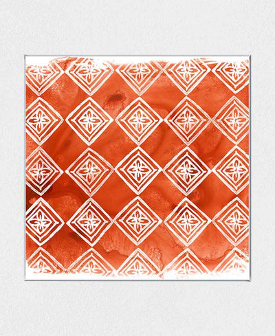 Crimson Motif I Interchangeable Fabric Art Print Created By June Erica Vess