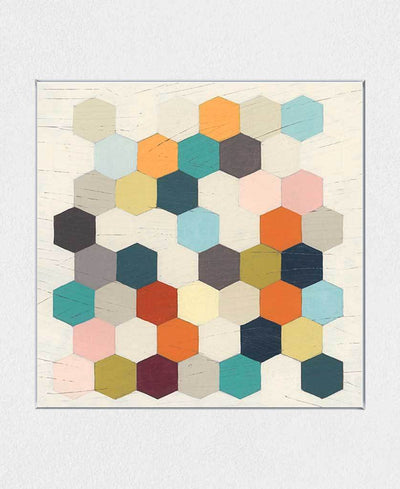 Honeycomb Geometry III Interchangeable Fabric Art Print Created By June Erica Vess