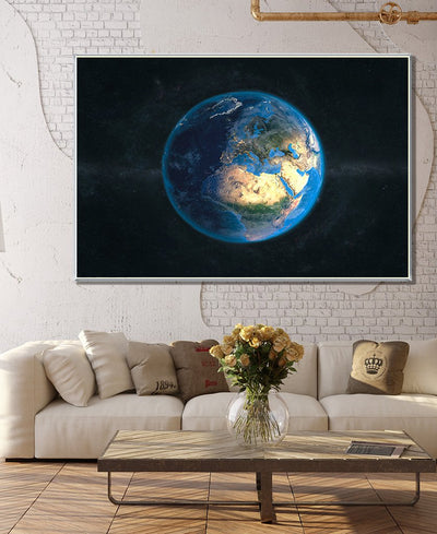 Globe Day & Night - Europe Interchangeable Fabric Art Print Created By Marco Bagni