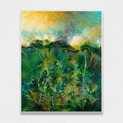 Artichoke Bloom Interchangeable Fabric Art Print Created By Iris Scott