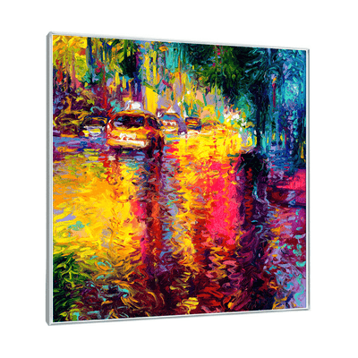 Bathed In Taxi Interchangeable Fabric Art Print Created By Iris Scott