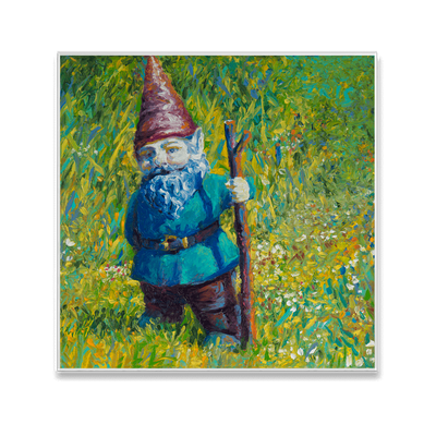 Garden Gnome Interchangeable Fabric Art Print Created By Iris Scott
