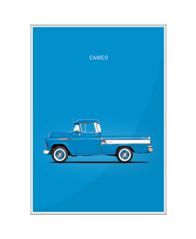 Chevrolet Cameo Pickup 1957 Blue Interchangeable Fabric Art Print Created By Mark Rogan