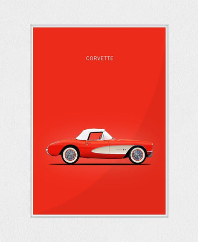 Corvette 1957 Red Interchangeable Fabric Art Print Created By Mark Rogan