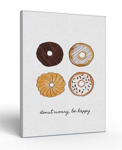 Donut Worry, Be Happy Interchangeable Fabric Art Print Created By Orara Studio